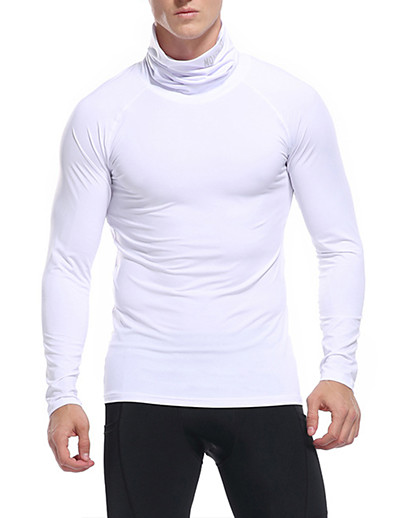 cheap Men's Clothing-LITB Basic Men's Heaps Collar Shirt Quick Dry Fitting Tops Solid Color Long Sleeve Wear Sport Tight Fitting Tops