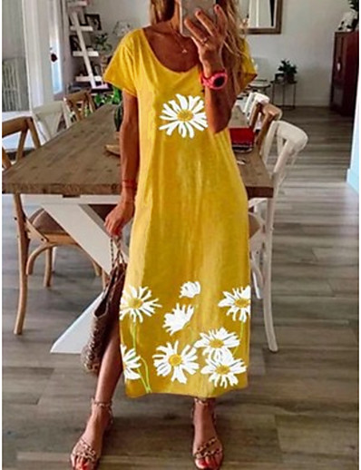 cheap Maxi Dresses-Women's Shift Dress Maxi long Dress Black Blue Yellow Gray Short Sleeve Daisy Floral Clothing Print Summer Round Neck Hot Casual vacation dresses 2021 S M L XL XXL 3XL