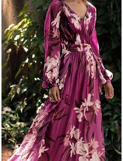 cheap Lace Dresses-Women's Chiffon Dress Maxi long Dress Purple Long Sleeve Floral Color Block Print Summer V Neck Holiday Boho Loose 2021 S M L XL XXL