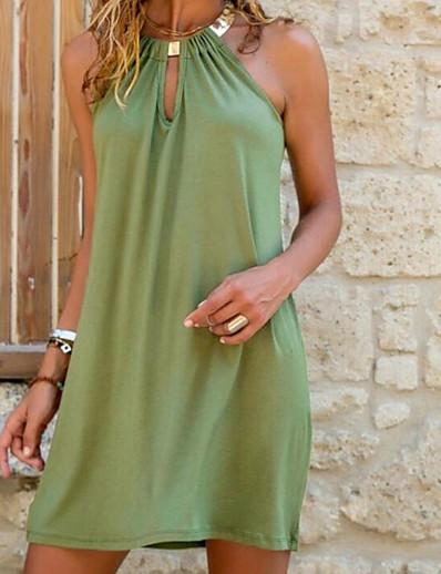 abordables Robes Décontracté-Femme Robe Droite Robe courte courte Bleu Vert Sans Manches Eté Col Rond chaud Sexy robes de vacances 2021 S M L XL XXL 3XL