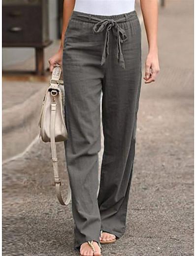 abordables Bas pour femmes-Femme basique Flexible Grandes Tailles Ample Casual Vacances Culottes Chino Pantalon Couleur Pleine Cordon Bleu Noir Kaki Gris