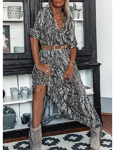 cheap Dresses-Women's A Line Dress Maxi long Dress Black Half Sleeve Color Block Spring Summer V Neck Casual 2021 S M L XL XXL