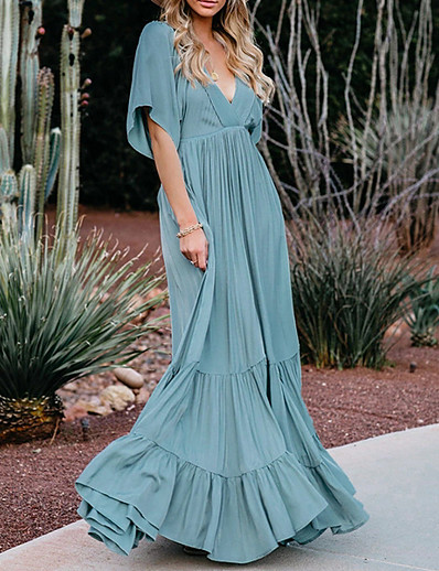 cheap Dresses-Women's A Line Dress Maxi long Dress Blue Blushing Pink Gray Short Sleeve Solid Color Patchwork Fall Summer V Neck Casual 2021 S M L XL