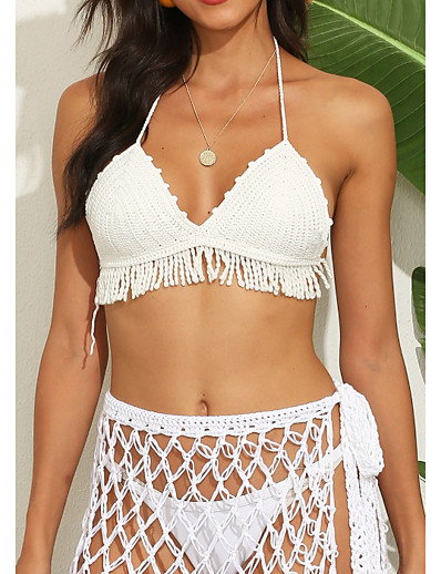 cheap Bikini Tops-Women's Bikini Bikini Top Swimsuit Slim Solid Color White Swimwear Camisole Padded Strap Bathing Suits New Casual Sexy