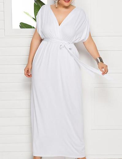 cheap Plus size-Women's Plus Size Dress Swing Dress Maxi long Dress Short Sleeve Solid Color V Neck Elegant Fall Spring Summer White Purple Wine L XL XXL 3XL 4XL