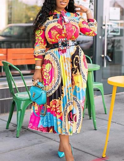 cheap Dresses-Women's Plus Size Dress Swing Dress Midi Dress Long Sleeve Print Patchwork Print Casual Fall Rainbow S M L XL XXL