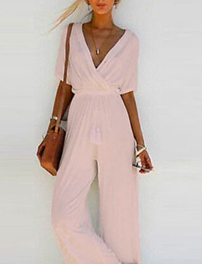 cheap Clearance-Women's Basic Wide Leg White Black Blushing Pink Jumpsuit Solid Colored