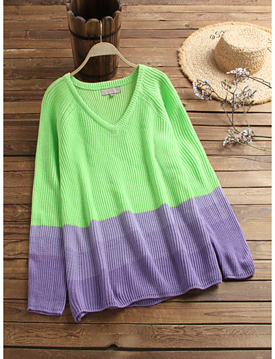 cheap Sweaters & Cardigans-Women's Basic Knitted Color Block Pullover Acrylic Fibers Long Sleeve Sweater Cardigans V Neck Fall Winter Green