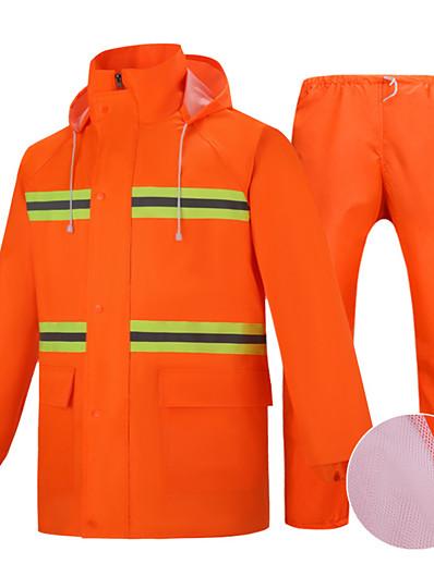 cheap Softshell, Fleece & Hiking Jackets-Men's Women's Rain Poncho Hiking Raincoat Rain Jacket Winter Summer Outdoor Waterproof Quick Dry Lightweight Breathable Pants / Trousers Bottoms Clothing Suit Hunting Fishing Climbing Upgraded orange