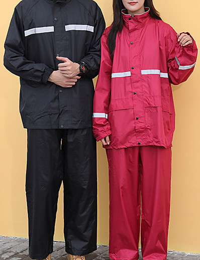cheap Softshell, Fleece & Hiking Jackets-Men's Women's Rain Poncho Hiking Raincoat Rain Jacket Winter Summer Outdoor Quick Dry Lightweight Breathable Reflective Strips Pants / Trousers Bottoms Clothing Suit Hunting Fishing Climbing 818