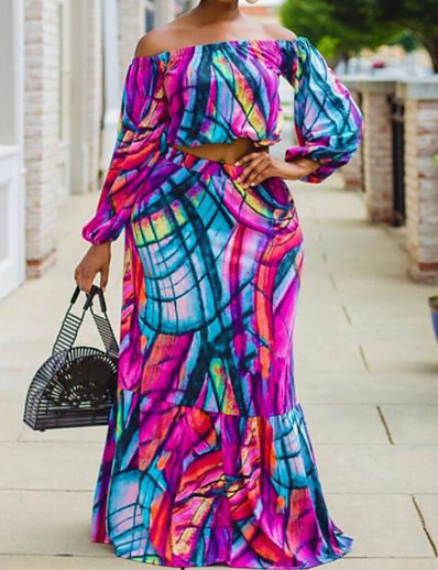 abordables FEMME-amazon indépendant station vêtements d'automne européens et américains chemise à manches longues à manches longues + jupe longue taille plus lâche femme en deux pièces 6838