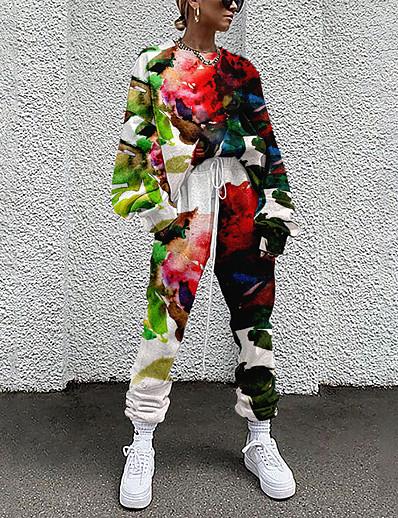 abordables Ensemble deux pièces-Femme basique Chic de Rue Fleurie Vacances Décontracté / Quotidien Ensemble deux pièces Col Ras du Cou Survêtement T-shirt Pantalon Vêtements d'intérieur Cordon Imprimé Hauts / Ample