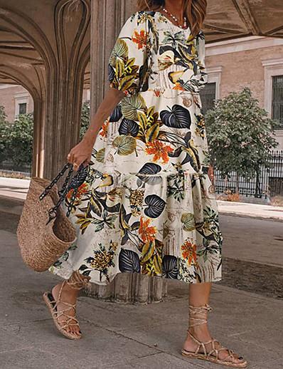 cheap Maxi Dresses-Women's A Line Dress Maxi long Dress Yellow White Black Short Sleeve Pattern Summer Casual 2021 S M L XL XXL