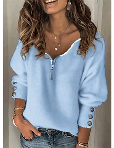 cheap Hoodies & Sweatshirts-Women's Pullover Sweater Solid Color Zipper Knitted Button Stylish Basic Casual Long Sleeve Sweater Cardigans Fall Winter V Neck Blue Gray White