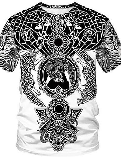 abordables Tops-duolifu unisexe 3d imprimé cool vikings tatouage chemisier mythologie nordique t-shirt tops, loup fenrir, s