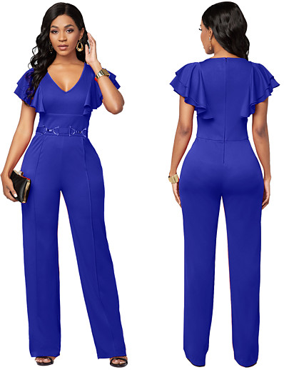 cheap Jumpsuits & Rompers-Women's Casual 2021 Blue Red Black Jumpsuit Solid Color