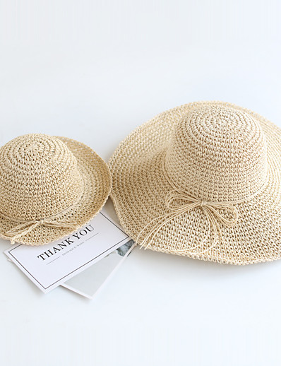cheap Family Matching Outfits-Straw Hats Mommy and Me Holiday Solid Color Bow Brown Beige Casual Matching Outfits / Summer / Vacation / Classic