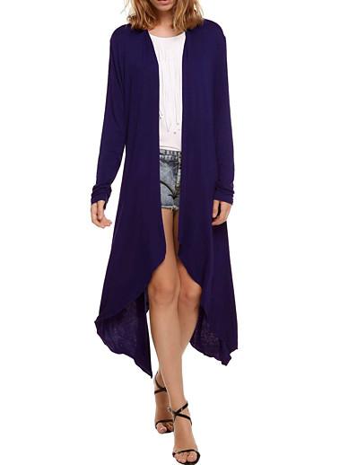 abordables PULLS ET CARDIGANS-Femme Simple Couleur unie Cardigan Manches Longues Pull Cardigans Col en U Printemps Eté Blanche Noir Bleu