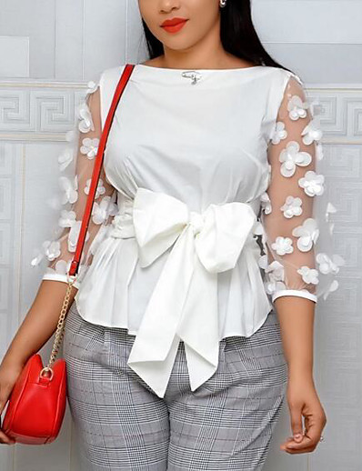 cheap Plus Size Tops-Women's Plus Size Tops Blouse Shirt Plain Lace Bow 3/4 Length Sleeve Round Neck Streetwear Red White Yellow Big Size XL XXL 3XL 4XL