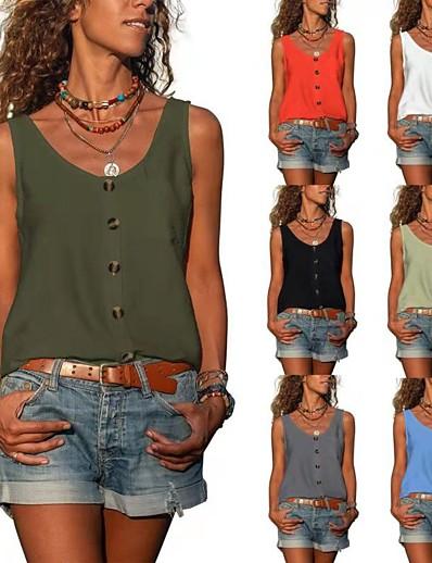 cheap Women's Clothing-LITB Basic Women's V-Neck Hem Tank Solid Color Top Basic Vest Summer Daily Shirts