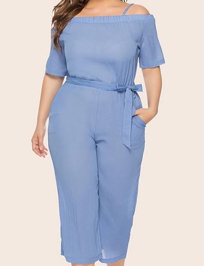 cheap Plus Size Jumpsuits-Women's Plus Size Jumpsuit Drawstring Solid Colored Ordinary Black Blue XL XXL 3XL 4XL 5XL