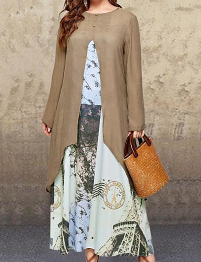 cheap Plus size-Women's Plus Size Dress Wrap Dress Maxi long Dress Long Sleeve Print Patchwork Casual Fall Khaki L XL XXL 3XL 4XL / Loose