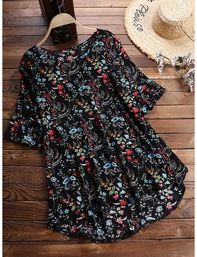 cheap Plus Size Tops-Women's Plus Size Tops Blouse Shirt Floral Half Sleeve Round Neck Spring Summer Black Big Size L XL XXL 3XL 4XL