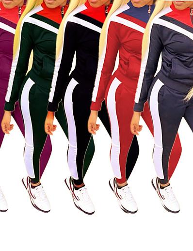 cheap Running, Jogging & Walking-Women's 2 Piece Full Zip Tracksuit Sweatsuit Jogging Suit Street Casual Long Sleeve Fleece Windproof Breathable Soft Fitness Running Jogging Sportswear Jacket Track pants Black Dark Purple Burgundy