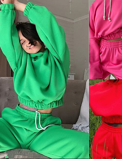 cheap Running, Jogging & Walking-Women's 2 Piece Cropped Tracksuit Sweatsuit Street Athleisure 2pcs Winter Long Sleeve Thermal Warm Breathable Soft Fitness Gym Workout Running Jogging Training Sportswear Solid Colored Normal Hoodie