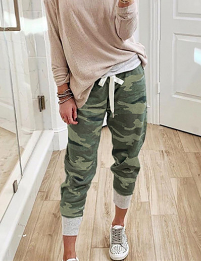 cheap Women's Bottoms-Women's Basic Army Jogger Sweatpants Quick Dry Sports Outdoor Daily Loose Pants Full Length Camouflage Print Army Green Green Orange