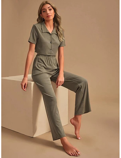 cheap Two Piece Set-Women's Basic Streetwear Solid Color Vacation Casual / Daily Two Piece Set Crop Top Tracksuit Pant Loungewear Tops