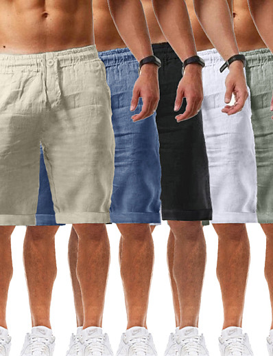 cheap Exercise, Fitness & Yoga-Men's Yoga Shorts Shorts Drawstring Bottoms Bermuda Shorts Moisture Wicking Quick Dry Breathable Solid Color White Black Blue Casual Yoga Fitness Gym Workout Summer Sports Activewear