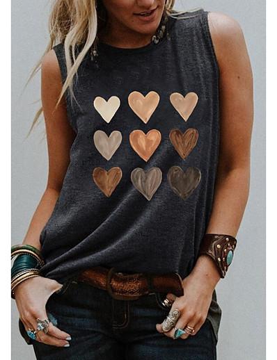 cheap Tank Tops-Women's Tank Top Vest T shirt Graphic Heart Round Neck Print Basic Streetwear Tops Blue Light gray Black
