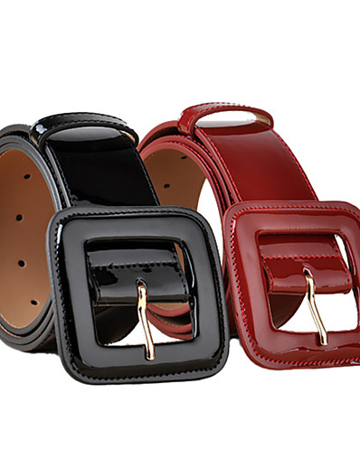 cheap Belt-european style fashion patent leather wide waist, black and red decorative coat leather belt, all-match cowhide belt ladies wholesale