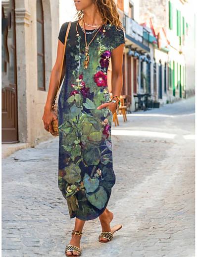 cheap Maxi Dresses-Women's T Shirt Dress Tee Dress Maxi long Dress Dark Blue Short Sleeve Floral Botanical Leaf Print Summer Round Neck Casual / Daily 2021 S M L XL XXL XXXL