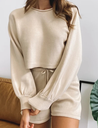cheap Two Piece Set-Women's Basic Streetwear Solid Color Vacation Casual / Daily Two Piece Set Hoodie Tracksuit Loungewear Biker Shorts Drawstring Tops