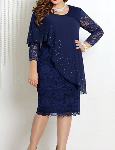 cheap Plus size-Women's Plus Size Dress Knee Length Dress A Line Dress 3/4 Length Sleeve Solid Color Mesh Lace Spring Summer Formal Blue Green Navy Blue XL XXL 3XL 4XL 5XL / Cotton / Going out / Cotton