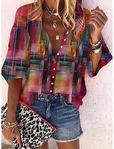cheap Blouses & Shirts-Women's Blouse Shirt Color Gradient Long Sleeve Print Standing Collar Casual Tops Fuchsia