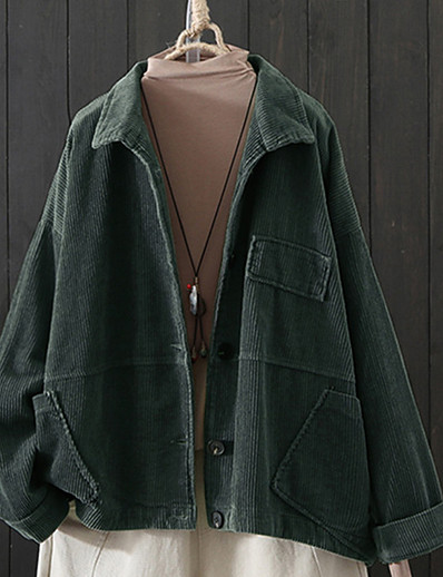 cheap Plus Size Outerwear-Women's Plus Size Coat Button Regular Button Down Collar Daily Wear Fall Spring Orange Green Big Size L XL 2XL 3XL 4XL