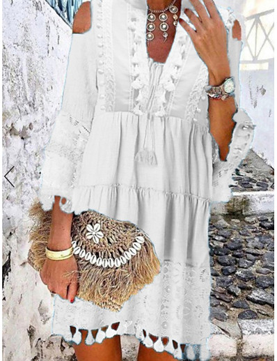 cheap Boho Dresses-Women's Shift Dress Short Mini Dress White Blue Yellow Blushing Pink Beige 3/4 Length Sleeve Tassel Fringe Lace Cold Shoulder Summer Deep V Hot Casual Boho vacation dresses 2021 S M L XL XXL 3XL