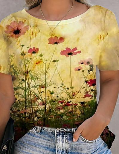 preiswerte Tops in Übergröße-Damen Übergröße Oberteile T-Shirt Druck Blumen Große Größe Rundhalsausschnitt Kurzarm Große Größe / Übergrössen