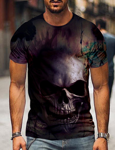 cheap Men's 3D-Men's T shirt Graphic Color Block 3D Skull Print Short Sleeve Going out Tops Streetwear Punk & Gothic Gray