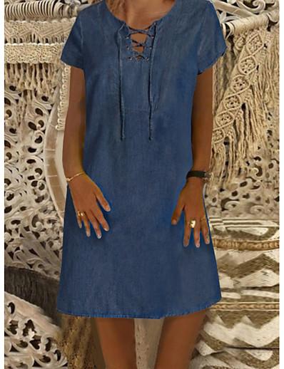 cheap Mini Dresses-Women's Denim Dress Knee Length Dress Blue Short Sleeve Solid Color Front Tie Denim Spring Summer Round Neck Denim Comfortable 2021 M L XL XXL XXXL