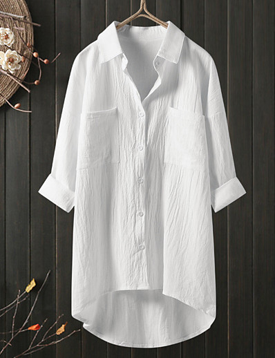 cheap Plus size-Women's Plus Size Tops Blouse Shirt Plain Pocket Button 3/4 Length Sleeve Shirt Collar Spring Summer Blue Gray khaki Big Size L XL 2XL 3XL 4XL