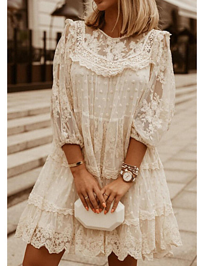 cheap Lace Dresses-Women's Shift Dress Short Mini Dress White Beige 3/4-Length Sleeve Solid Color Embroidered Lace Spring Summer Round Neck Casual 2021 S M L XL XXL 3XL