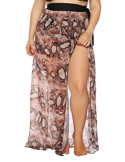 cheap Plus size-Women's Beach Bottom Swimsuit Chiffon Leopard Orange Plus Size Swimwear Bathing Suits New Casual Sexy