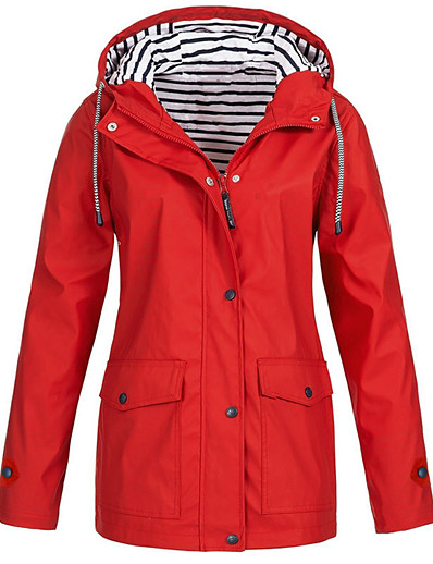 cheap Coats & Trench Coats-Women's Jacket Sports & Outdoor Fall Spring Regular Coat Regular Fit Sporty Basic Jacket Long Sleeve Solid Colored Classic Navy Yellow