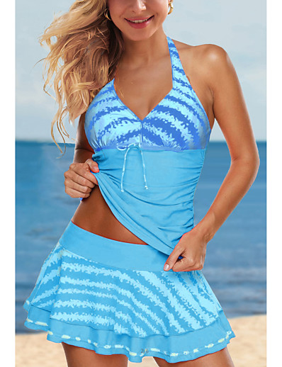 cheap Tankinis-Women's Tankini with Shorts / Top 2 Piece Swimsuit Lace up Print Stripe Blue Blushing Pink Green Swimwear Halter Padded Bathing Suits New Cute