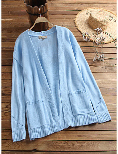 cheap 2021 Trends-Women's Basic Knitted Solid Color Cardigan Acrylic Fibers Long Sleeve Sweater Cardigans Open Front Fall Winter Blue