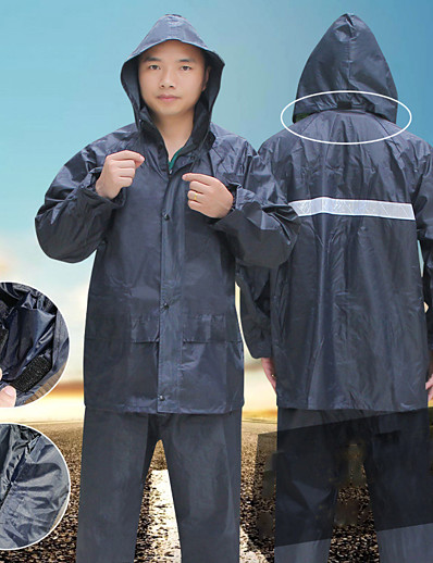 cheap Softshell, Fleece & Hiking Jackets-Men's Women's Rain Poncho Hiking Raincoat Rain Jacket Winter Summer Outdoor Quick Dry Lightweight Breathable Reflective Strips Pants / Trousers Bottoms Clothing Suit Hunting Fishing Climbing Navy